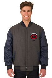 Mlb Minnesota Twins Wool And Leather Reversible Jacket With Embroidered Logos