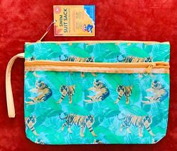 Nwt Tropical Tigers And Palm Leaf Print Swim Suit Travel Wristlet Bag