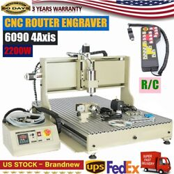 6090 4axis Usb Cnc Router Engraver Machine Engraving Cutter 2.2kwandr/c Controller