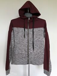 Aeropostale Live Love Dream Zip Up Workout Hoodie Size Xs Maroon Gray
