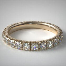 Solid 14k Yellow Gold 2.00 Ct Round Cut Real Diamond Wedding Band Size 5.5 6 7 8
