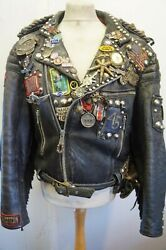 Vintage Mascot Distressed Rockers Fringed Biker Jacket Size M Studs Ace Patina