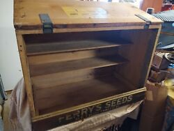 Antique D.m. Ferry And Co Seeds Wooden Box General Store Display