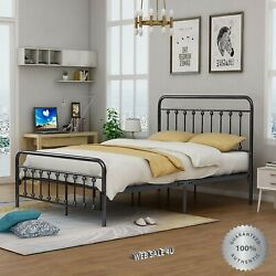 Metal Bed Frame Queen Farmhouse Iron Sturdy Vintage Modern Gray Country Style Hd