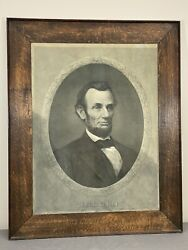 Rare C.1869 Lincoln Print Henry Gugler Period Frame And Glass 37.5 X 30.25