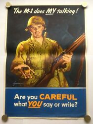 Authentic The M-1 Does My Talking Poster Ww2 1945 Jes Schlaikjer