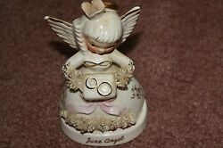 Vintage Napco 1950and039s Porcelain Spaghetti 4.5 June Angel W/ Wedding Rings S1366