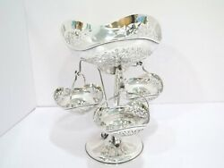 10.75 In - Sterling Silver George Nathan Antique English Floral Openwork Epergne