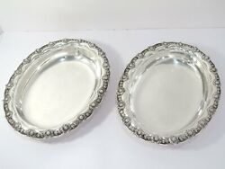 Pair Of 10 1/8 Sterling Silver Antique C 1891 Chrysanthemum Oval Plates