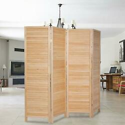Wood 4 Panel Room Divider Privacy Folding Screen Home Office 5.9 Ft Tall Popular