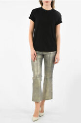 Frame Women Trousers Leather Bootcut Pants With Belt Loops Gold