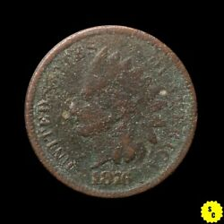 1876 Indian Head Cent Vf Details Corroded Better Date Us Penny 115