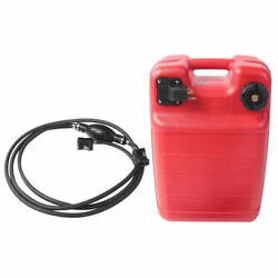 24l Portable Outboard Boat Marine Fuel Gas Tank W/ Male Connector + Fuel Line