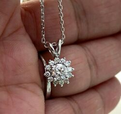 Natural Diamond Halo Solitaire Pendant Necklace In 14k White Gold, 0.75 Ct. T.w.