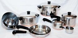 Revere Ware 1801 Copper Bottom Cookware 13 Pc Set Lot Of 13 Vintage Pot And Pans