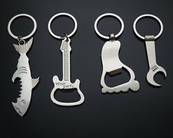 4pcs Set Guitar Wrench Shark Big Foot Shape Keychains Smooth Beer Bottle Openers
