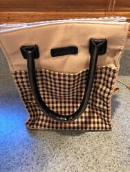 Longaberger Black And Blue Check Plaid Purse With Handle