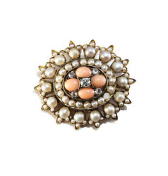 Antique Victorian 14k Yellow Gold Coral Pearl Diamond Pin Brooch Old Eurpean