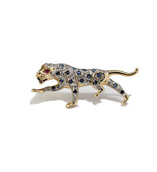 Ruby Sapphire Diamond Panther Brooch Pin Estate Vintage 14k Yellow Gold Cat
