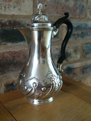 Antique Victorian 1886 Sterling Silver Floral Chocolate Pot Martin Hall And Co Ltd