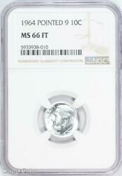 1964 Pointed 9 Roosevelt Silver Dime Ngc Ms66 Ft Fb B6-938-010