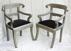 Pair Of Rams Head Anglo Indian Dowry Wedding Arm Chairs, Repousse