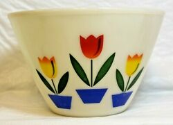 Fire King Oven Ware White Milk Glass Mixing Bowl Tulip Pattern 9.5 Excellent 3