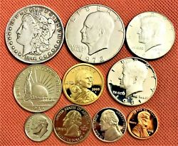 Grab Bag Of Morgan Silver Dollar, Commemorative And Kennedy Half, Proof Coins, Ike