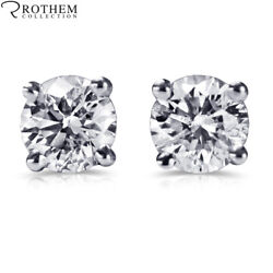 1 Ct Diamond Stud Earrings One Ct White Gold Studs Si1 Msrp 7800 34250712