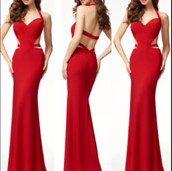 Sexy Women#x27;s Sleeveless Hanging Backless Long Red Evening Cocktail Dress Party $12.69