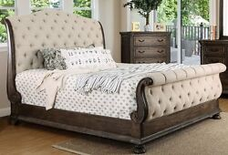 Luxurious Sleigh Cal King Bed Rustic Natural Tone Wood Carving Tufted Fabric Hb
