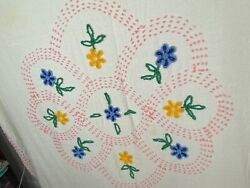 Vintage Chenille Cotton Bedspread Twin Cutter Use For Fabric Floral Scrap Repair