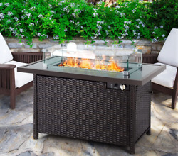 Outdoor Fire Pit Table Patio Backyard Heater Lp Glass Wind Guard Cover Pe Rattan