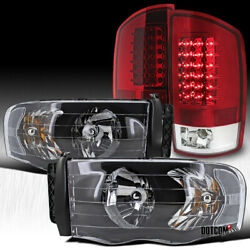 Fit 2002-2005 Ram 1500 2500 3500 Pickup Black Headlights+red/clear Led Tail Lamp