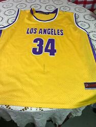 Vintage Stitched And Signed Los Angeles Lakers 34 Basketball Jersey Size 2xl