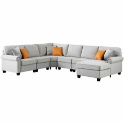 Devion Furniture Polyester Fabric U-shaped Sectional Sofa In Light Gray