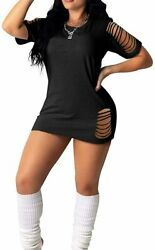 Mydearie Womenand039s Summer Short Sleeve Dresses- Crew Neck Casual Cut Out Ripped Pr