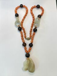 Antique Chinese Coral, Amber, Jade And Silver Necklace, Amazing