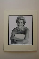 Princess Diana Black And White Hand Signed And Mounted Photograph