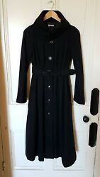 Handm Black Full Length Warm Winter Swing Coat Eu 34