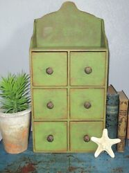 6 Drawer Wooden Vintage Spice Cabinet/box/cupboard/apothecary/chest-green Paint