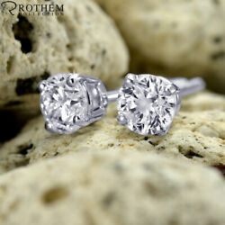 1.06 Ct Solitaire Diamond Earrings White Gold Stud Si1 Msrp 7800 03250712