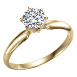 Solitaire Diamond Engagement Ring Yellow Gold 14k 0.60 Carat I2 F 10352243