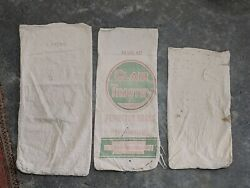 Lot Of 3 Vintage Antique Worn Soft Canvas Feed Sacks Bags Flour Fabric Grass Hay