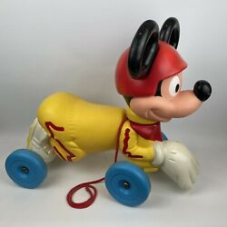 Vintage 1970and039s Mattel Mickey Mouse Ride On Toy Disney 52cm X 44cm X 25cm Kids