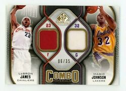 2009 Upper Deck Sp Gameused Lebron James Magic Johnson Patch Gold /35 Sp Lakers