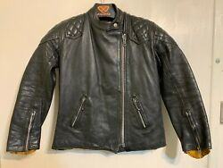 Womens Vintage 70's Highwayman Distressed Leather Motorcycle Jacket Size 8