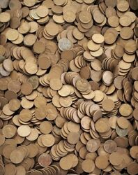 """Lot Of 5,000 Lincoln Wheat Pennies - """"100 Rolls"""" Of Us Copper Coins"""