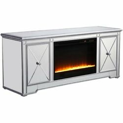Elegant Decor Modern 60 Mirrored Crystal Fireplace Tv Stand In Antique Silver
