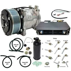 A/c Universal Kit Underdash Black And Chrome Compressor 508 8p Fittings And Hoses